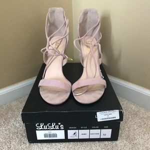 Shoes - Pale pink lace up helped sandals